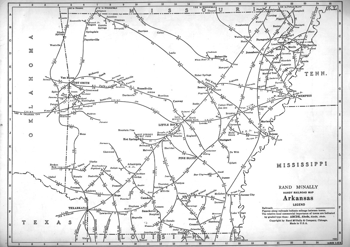 PFMSIG US Railroad Atlas - Arkansas on a us map