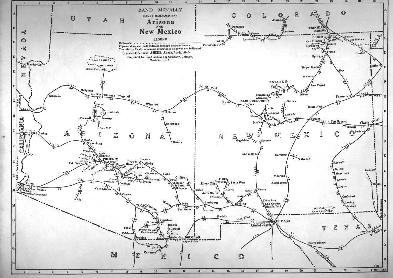 Map Of Arizona Railroads.P Fmsig 1948 U S Railroad Atlas